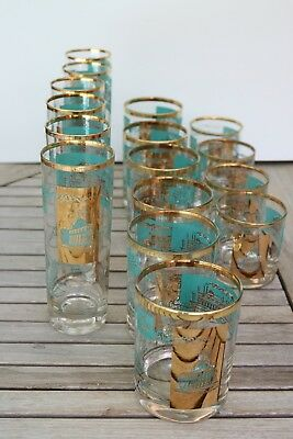 Vintage SOUTHERN COMFORT Glass Tumbler (s) Turquoise Gold Libbey