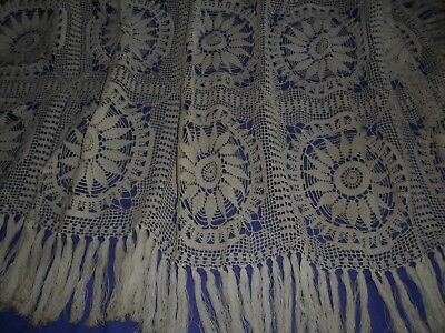 Vintage French filet and crochet table cloth.Fringes around.Hand made.