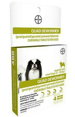 Bayer Quad Dewormer for Puppies & Small Dogs (2-25 lbs) 4 Chewable Tablets