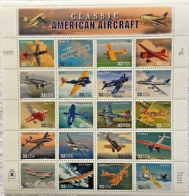 US Sheet 32¢ Stamps (20) CLASSIC AMERICAN AIRCRAFT c 1996 #3142