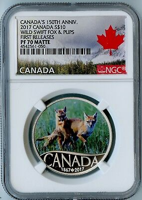 2017 Canada Ngc First Releases Pf70 Matte Silver Wild Swift Fox & Pups S$10!