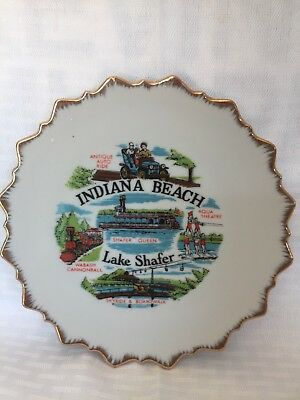 Indiana Beach Collectible Plate 7 Inch White With Gold Trim