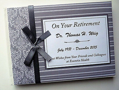 Personalised Grey Retirement/wedding/gift Guest Book - Any Colour