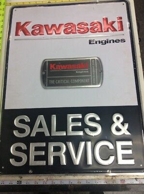 "Kawasaki Sales and Service Aluminum Sign ""The Critical Component"" Aluminum"