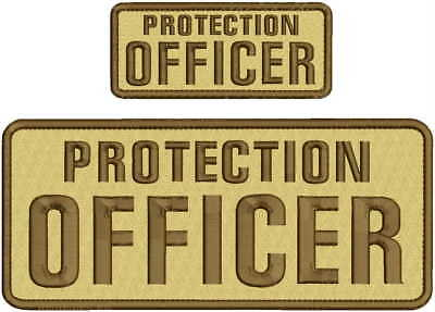 Protection Officer Embroidery Patch 4X10 And 2X5 Hook On Back Tan/brown