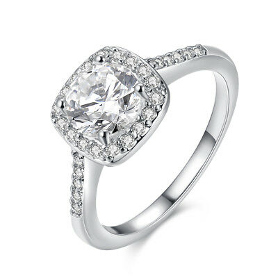 18K White Gold Plated Halo Shape Engagement Ring Made with Swarovski Crystals