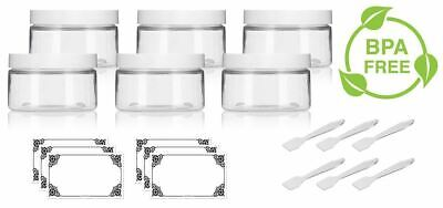 4 oz Clear PET (BPA Free) Low Profile Jar with White Lid + Labels and Spatulas