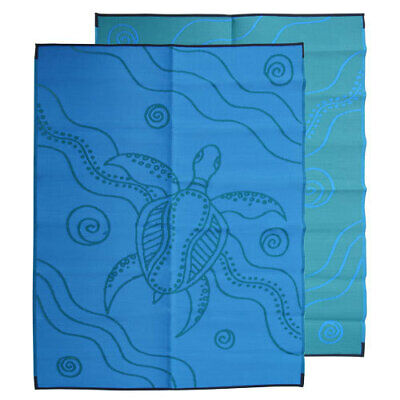 Plastic Outdoor Rug | ABORIGINAL Rectangle Turtle Design, in Blue & Green