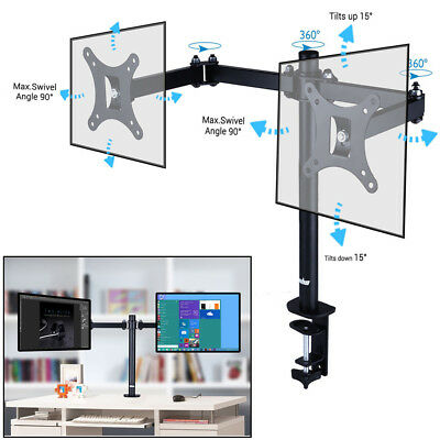 """17"""" 19 22 25 27 30"""" Dual HD LED Desk Mount Monitor Stand Bracket Hold 2 Screens"""