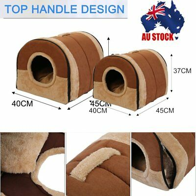 Lager Pet Dog Folding House Kennel Soft Beds Cave Cat Bed Doggy Cushion Small AU