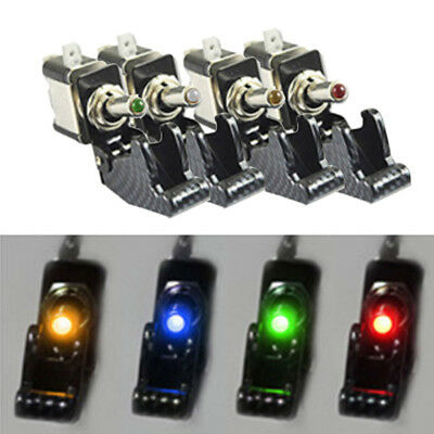 12V Illuminated Led On/off Toggle Spst Switch Aircraft Missile Flip Up Cover Car