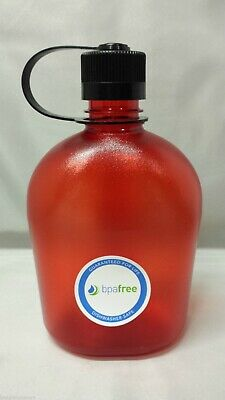 NEW Nalgene Oasis 38mm Narrow Mouth 32oz Canteen Water Bottle Red w/Black Lid