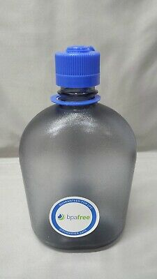 NEW Nalgene Oasis 38mm Narrow Mouth 32oz Canteen Water Bottle Gray w/Blue Lid