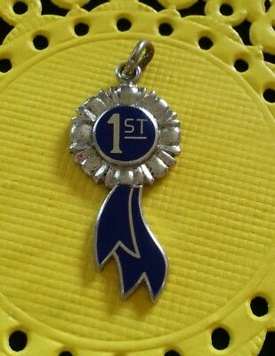 Vintage Wells Sterling Silver and Enamel 1st Place Blue Ribbon Charm