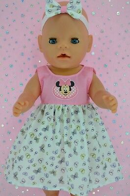"Play n Wear Doll Clothes To Fit 17"" Baby Born PINK/BUTTERFLY DRESS~HEADBAND"