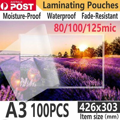 x100 A3 Laminating Pouches Plastic Film Pouches 80/100/125MIC PET with EVA AU