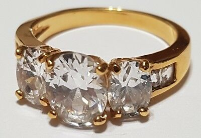 Vintage Fancy Gold Coloured Three Stone Ring - Cubic Zirconia -Costume - Size 8