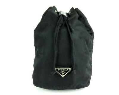 f9cd6e4c0969 100% Authentic PRADA Nylon Pouch Drawstring Bag Black Made In Italy