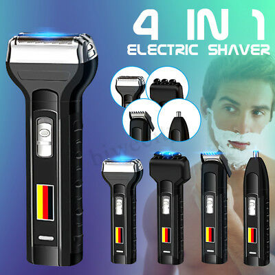 4in1 Rechargeable Mens Cordless Electric Shaver Razor Hair Beard Clipper Trimmer