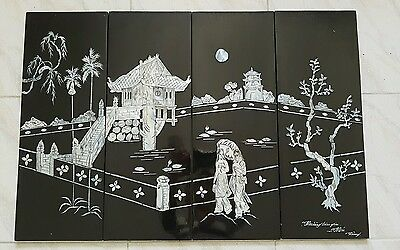Ancient Vintage Retro Style Asian Garden Wall Art Hanging Painting 4 Pieces