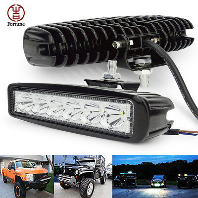 18W 800LM OffRoad Driving Fog Work 6 LED Bar Light Spot Lamp For Truck Jeep