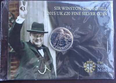 2015 Royal Mint £20 Silver Coin Winston Churchill - Sealed Pack