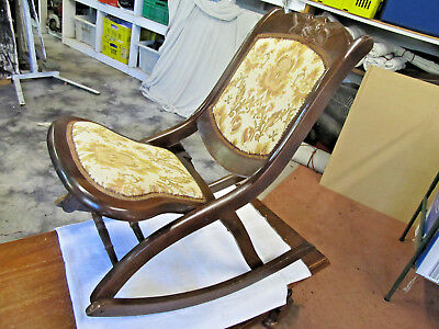 Antique Rocking Chair Small Retro Vintage Reproduction Style Tapestry Covered