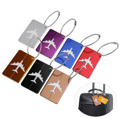 7Pcs Aluminum Alloy Metal Travel Luggage Tag Suitcase Bag ID Address Name Label