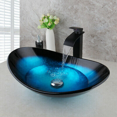 US Blue Bathroom Oval Tempered Glass Vessel Sink Black Faucet Mixer Taps Drain