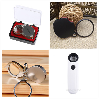 Practical With LED Magnifying Glass Handheld Folding Magnifier Key Ring Loupe