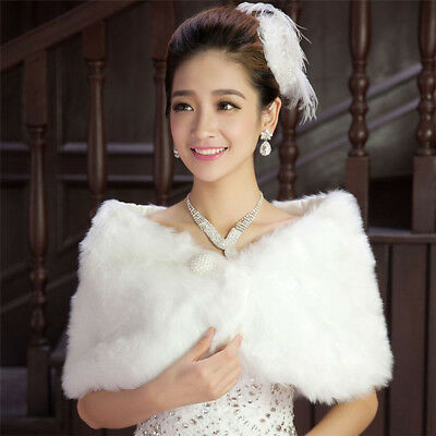 Faux Fur Ivory Wedding Bridal Shawl Wrap Stole Shrug Bolero jacket Cape Pashmina