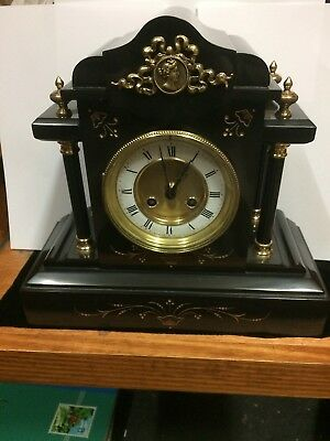 1890 Black Belgian Slate & Brass Mounted Mantel Clock