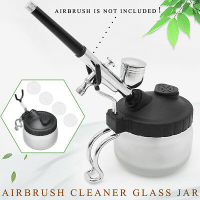 Airbrush Cleaning Pot Glass Air Brush Paint Cleaner Spray Jar Bottle Tattoo