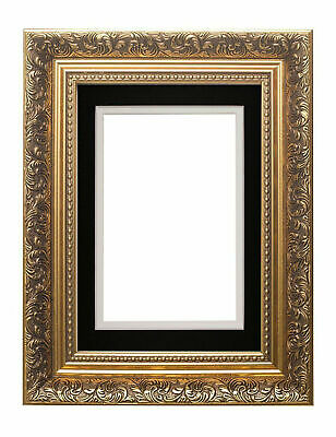 Ornate Swept Antique Baroque French Style Picture Photo Frame With Double Mount