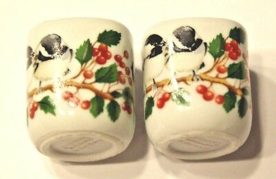 "Set of 2 Christmas Chickadees ""Funny Design W.Germany"" Mini Candle Holders,Porc."