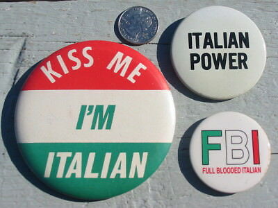 3 Lot Vtg Kiss Me I'm Italian Power FBI Full Blooded Button Pin Collection Old