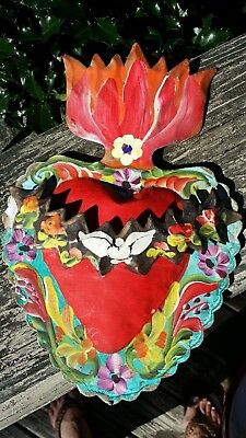 Heart & Banner Dove Flowers 3D Mexican Handmade Painted Tin Milagro 11x7x1 A25
