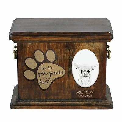 Chihuahua smooth haired - Urn for dog's ashes with ceramic plate, Art Dog