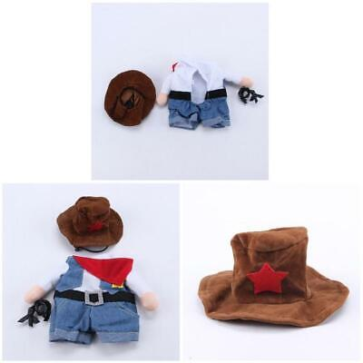 Pet Clothes Cat Dog Cosplay Cowboy Funny Costume Hat Puppy Jean Coat Party Dress