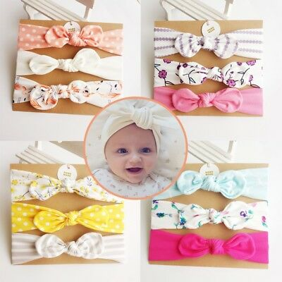 US 3PCS Baby Kids Girls Bowknot Headband Toddler Hair Band Headwear Accessories