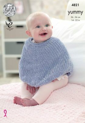 King Cole Knitting Pattern for Babies Poncho and Blanket in Chunky Baby Yummy
