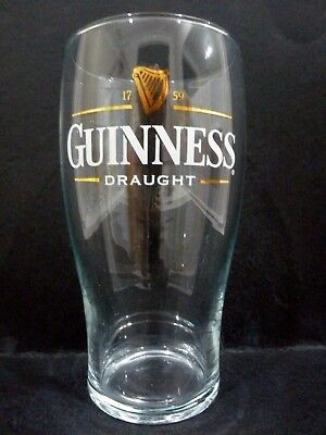 """Guinness Draught Beer Glass (gold & white logo ) vgc (6"""" x 3"""") - 2 available"""