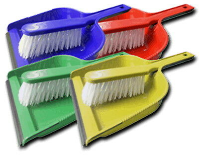 Colour Coded Hygiene Hand Dust Pan & STIFF Brush Set with Rubber Strip Cleaning