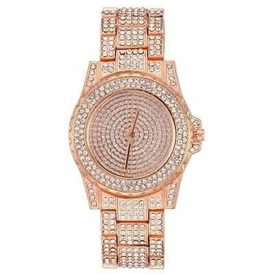 Hip Hop Iced out Rose Gold Finished Simulated Crystal Watch