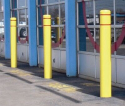 POST GUARD Bollard Sleeve 52in. (4.5ft) H x 4.5in.Diameter Yellow with Red Tape