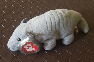 f69fc89a2f9 TY BEANIE BABY Tank The Armadillo 1995 2nd Generation Tag 7 Lines ...