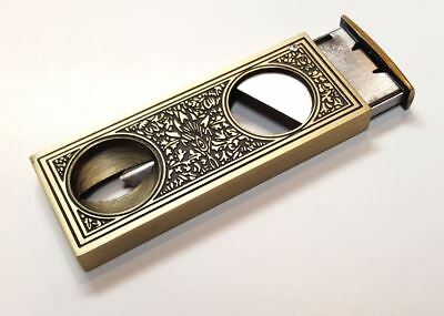 Retro Brass 2 in 1 Guillotine V Cut 52 Ring Gauge Cigar Stainless Steel Cutter
