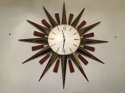 60s 70s Iconic Mid Century Metamec Starburst Sunburst Brass Wall Clock