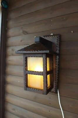 Arts& Crafts Style Carved Wood Wall Lantern -Wall Light Farmhouse - Peach Glass