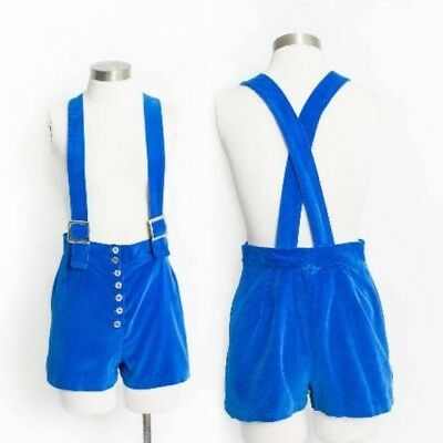 1960s 60s royal blue velvet overall/suspender shorts/hot pants true vintage